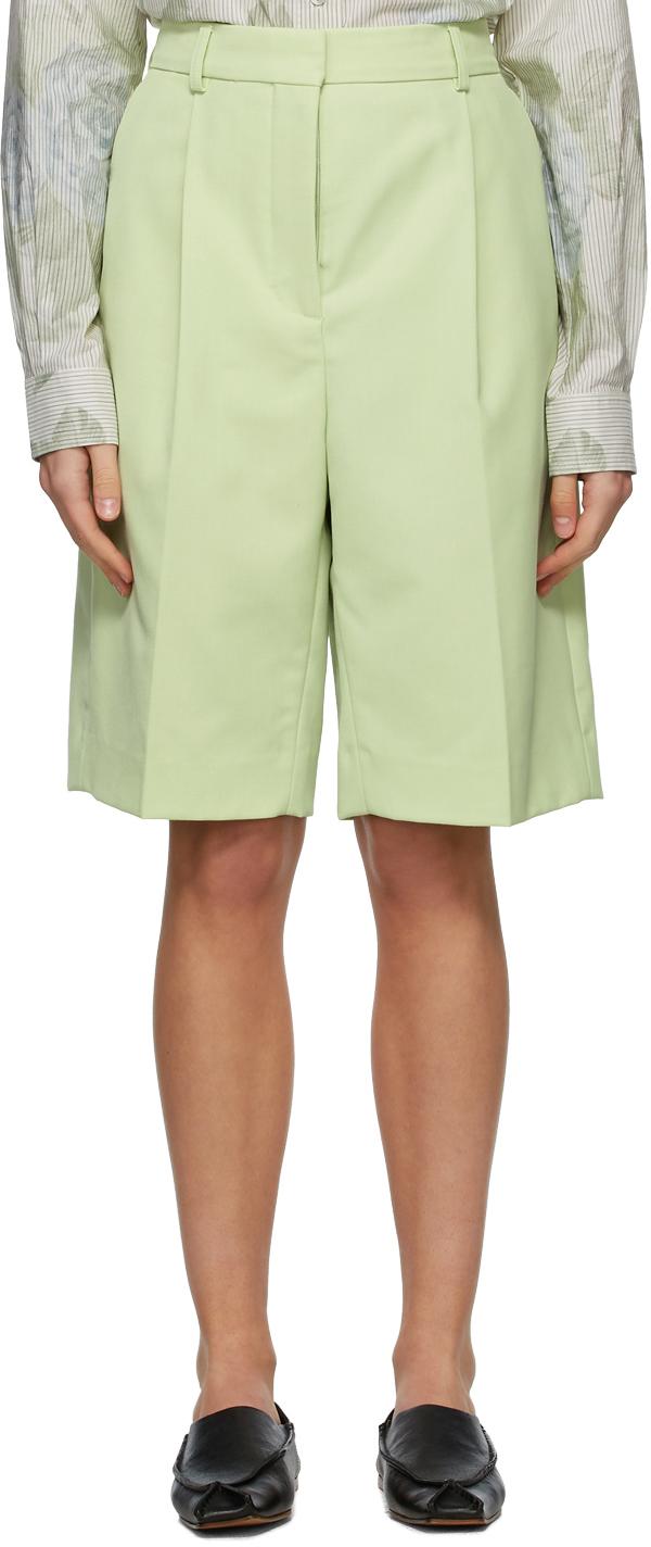 Acne Studios Green Wool Knee Length Shorts 211129F088082