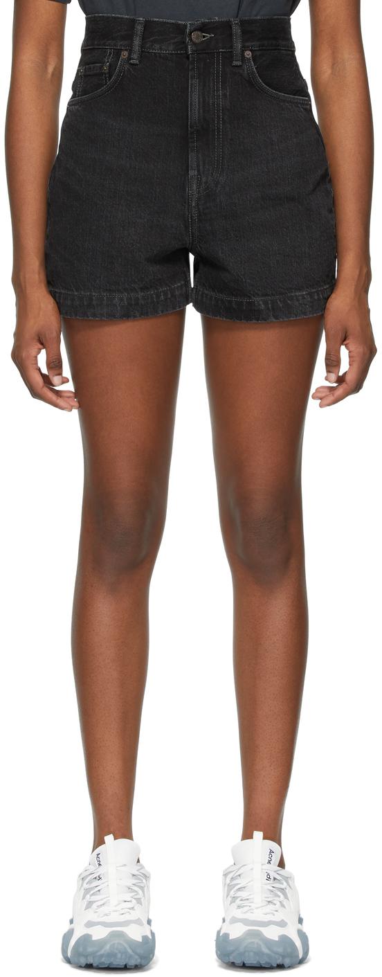 Acne Studios Black Denim Faded Shorts 211129F088083
