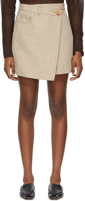 Acne Studios Beige Hemp Linen Asymmetric Miniskirt 211129F090226
