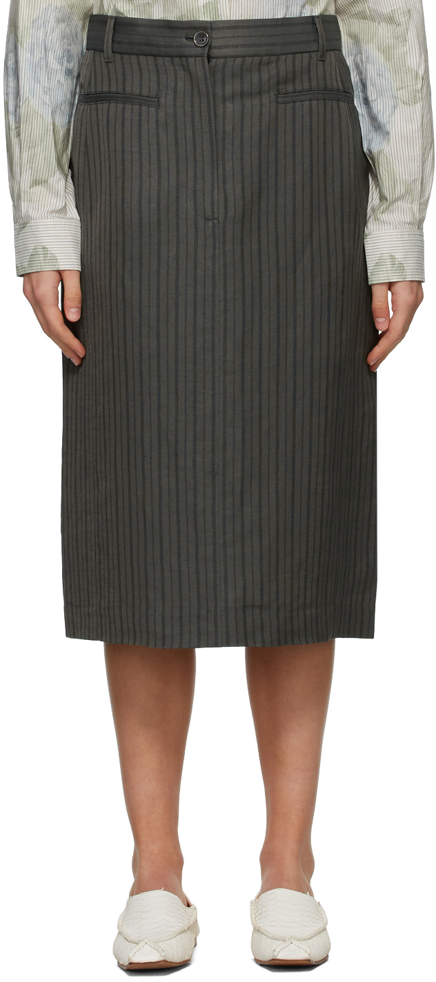 Acne Studios Grey Striped Structured Skirt 211129F092223