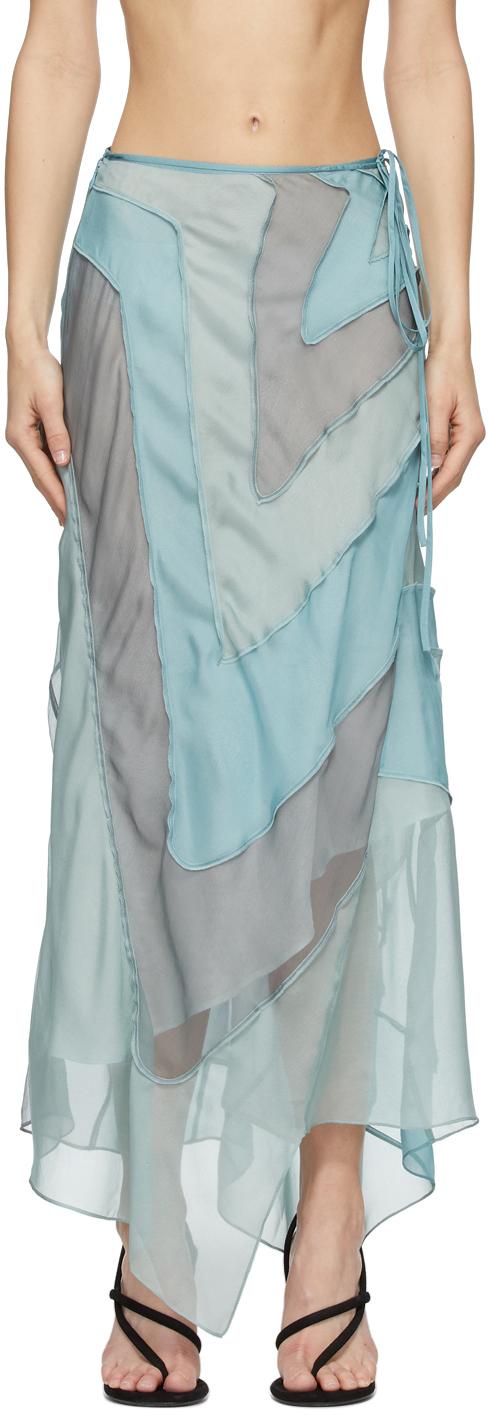 Acne Studios Blue Ben Quinn Edition Chiffon Skirt 211129F092225