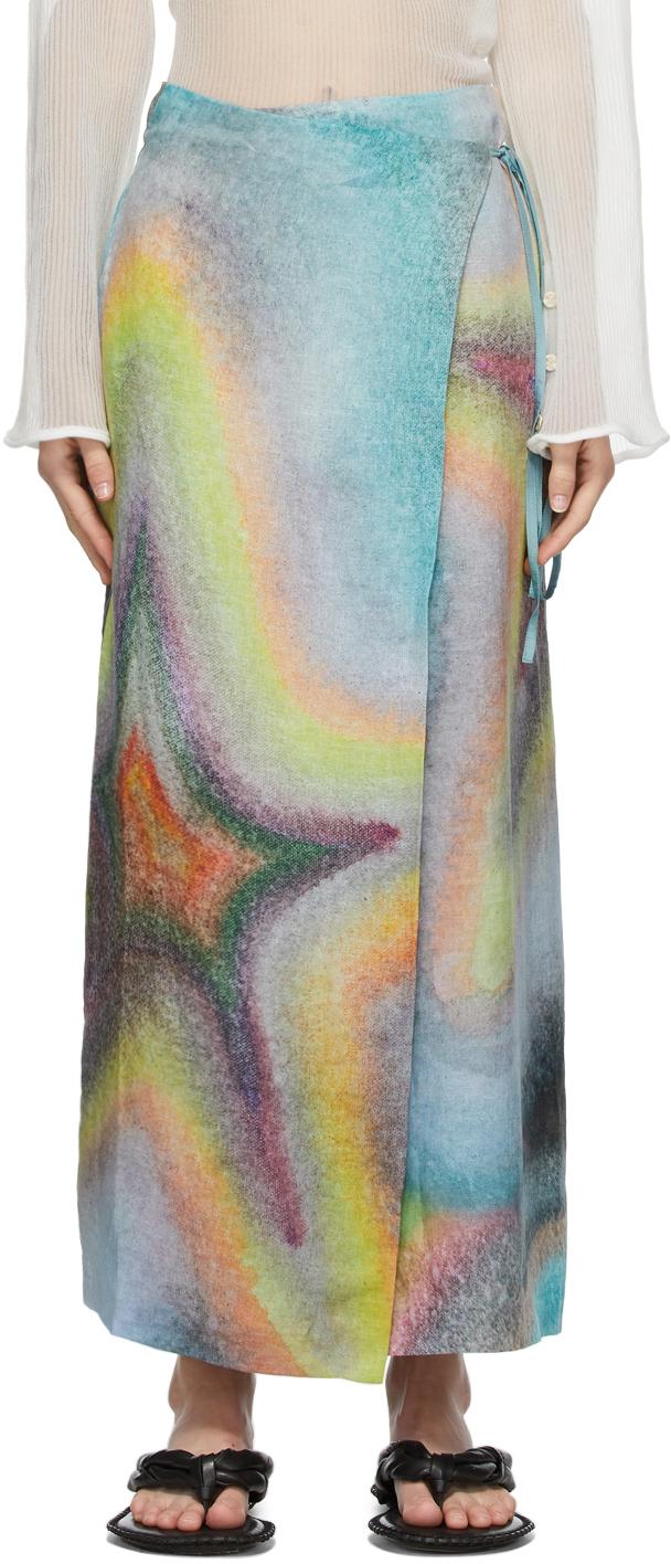 Acne Studios Multicolor Ben Quinn Edition Linen Skirt 211129F092229