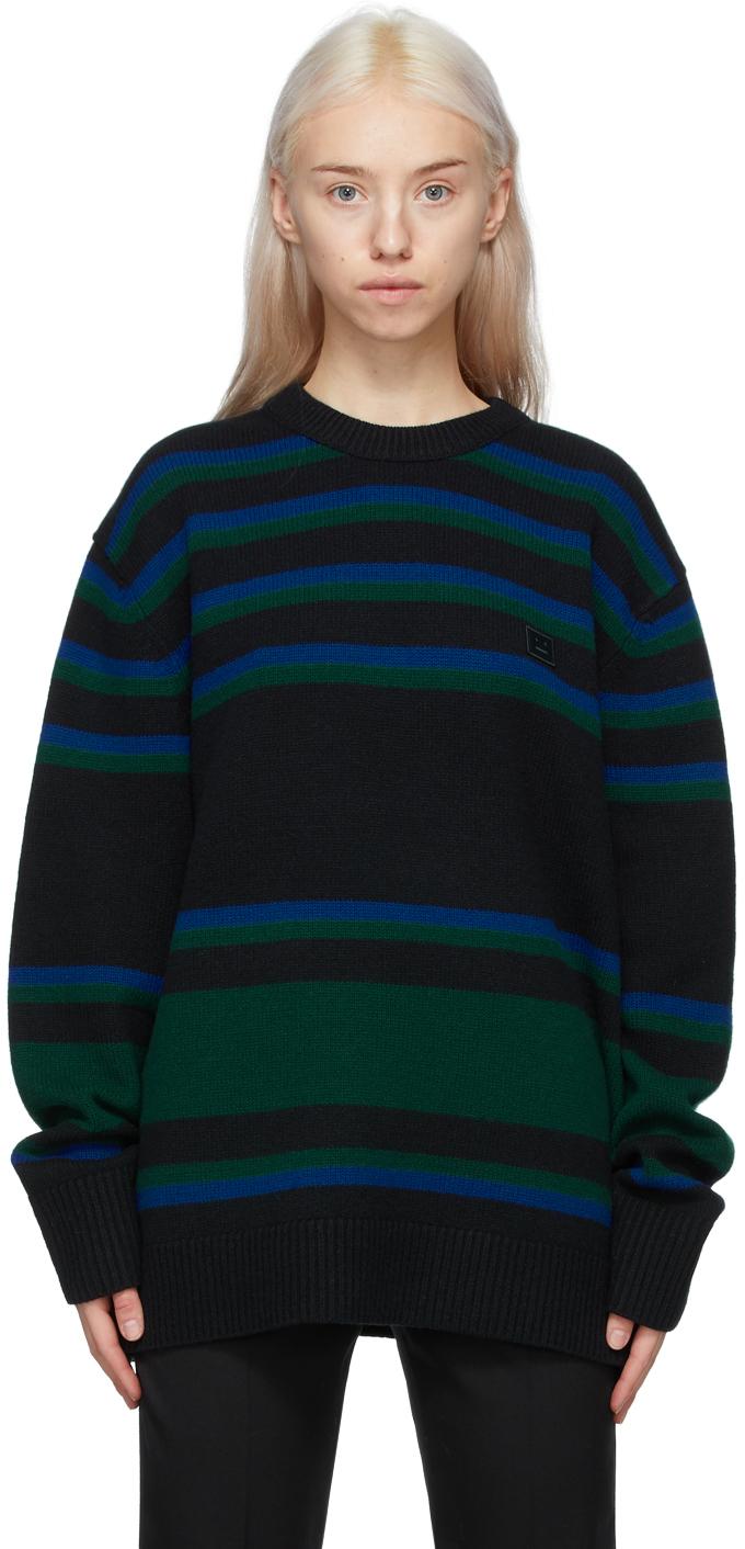 Acne Studios Black Blue Striped Wool Sweater 211129F096038