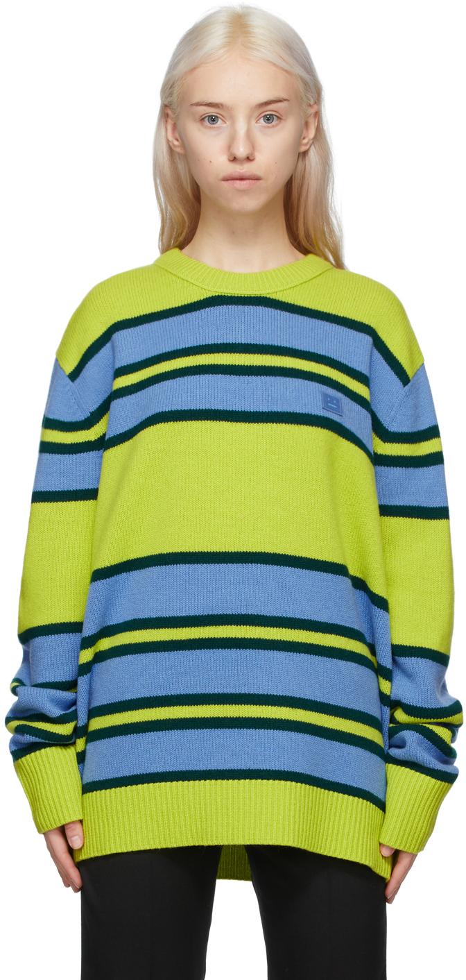 Acne Studios Green Blue Wool Striped Sweater 211129F096039