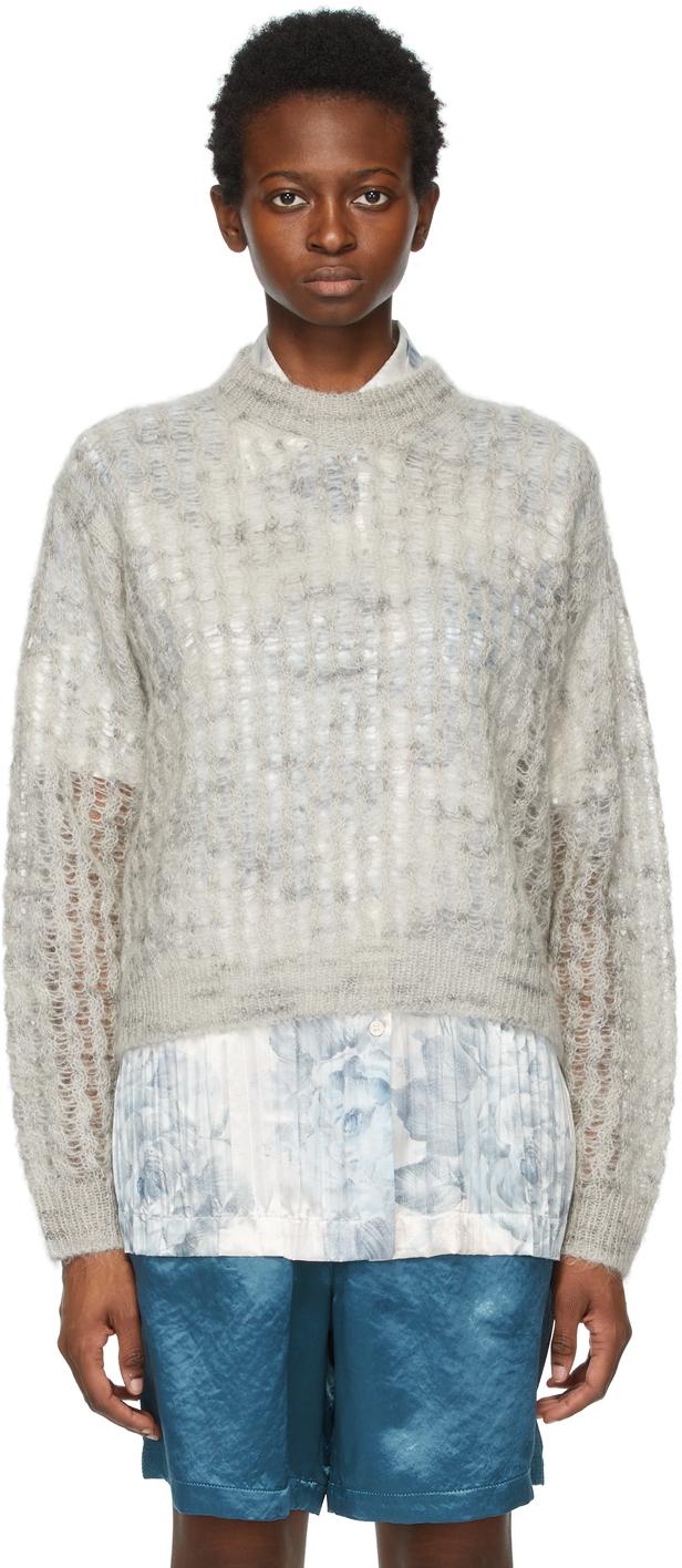 Acne Studios Grey Crew Neck Sweater 211129F096045