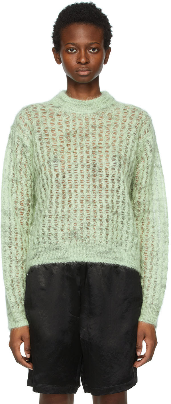 Acne Studios Green Crew Neck Sweater 211129F096046