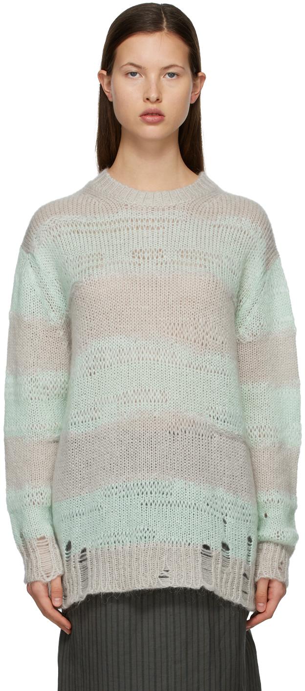 Acne Studios Green Grey Block Stripe Sweater 211129F096048