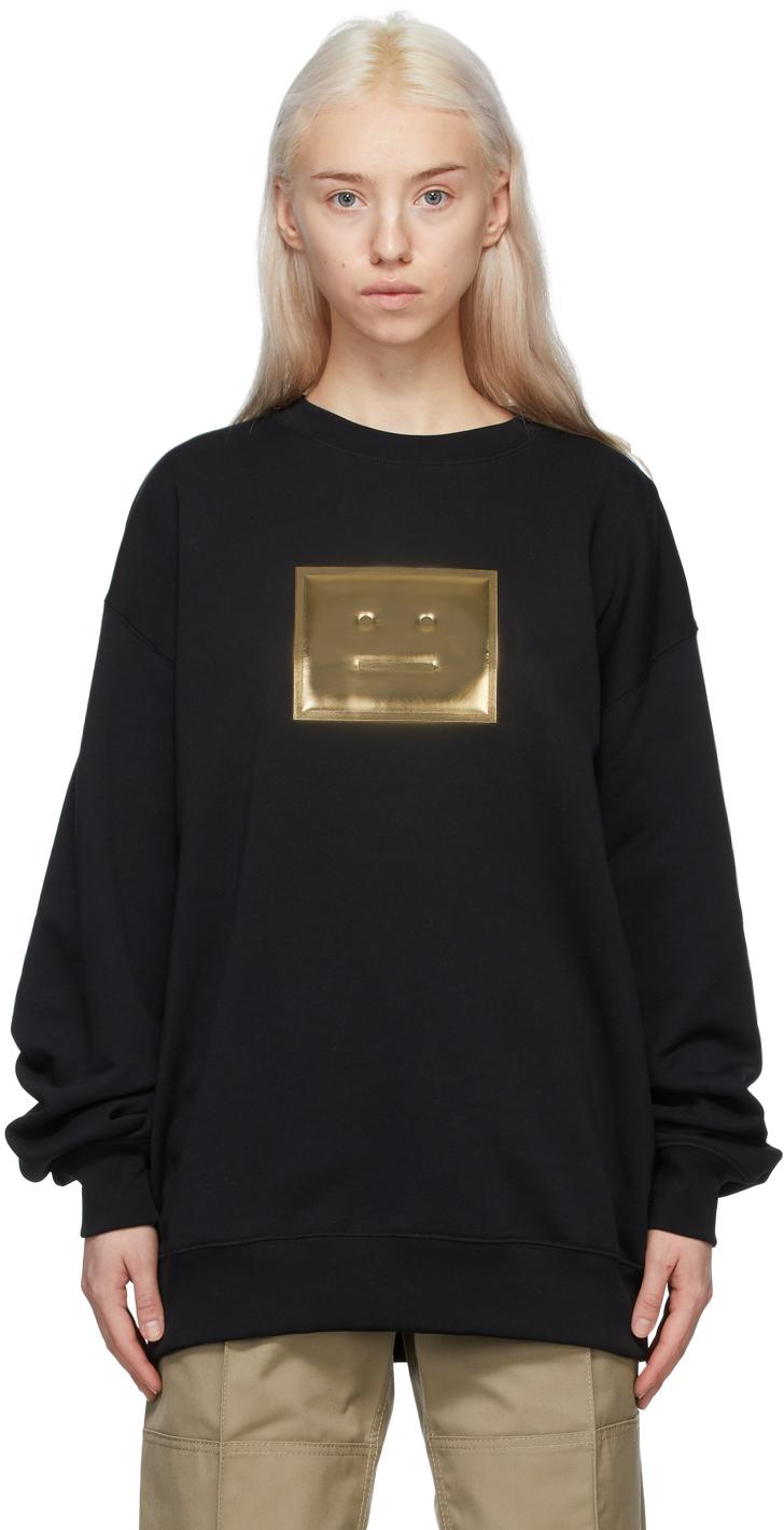 Acne Studios Black Gold Metallic Patch Sweatshirt 211129F098057