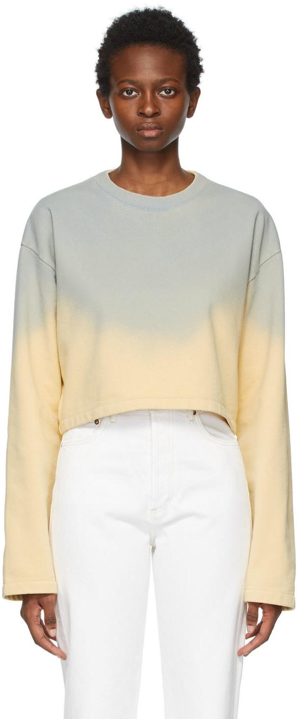 Acne Studios Blue Yellow Cropped Sweatshirt 211129F098062