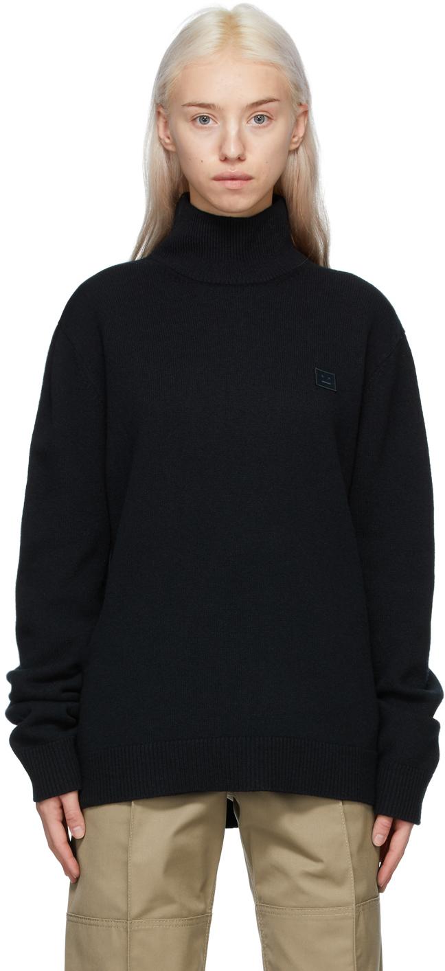 Acne Studios Black Wool Patch Turtleneck 211129F099037