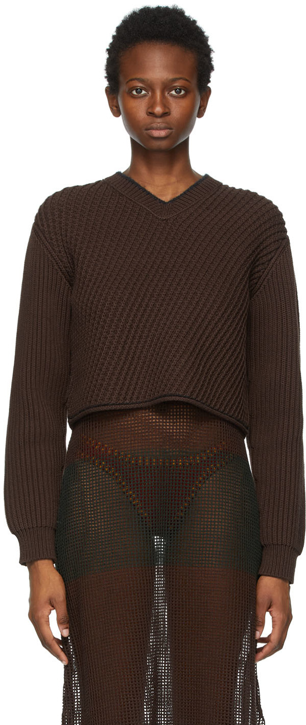 Acne Studios Brown Cropped Sweater 211129F100195