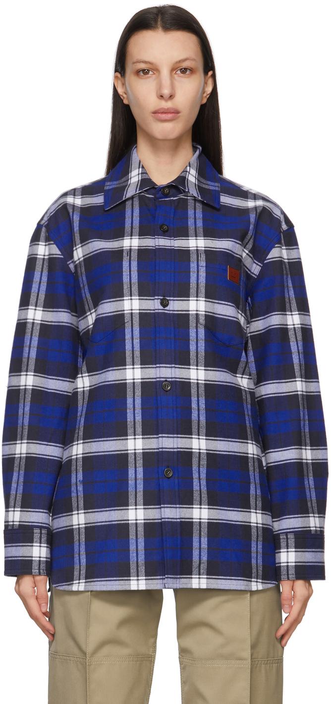 Acne Studios Blue Plaid Over Shirt 211129F109034