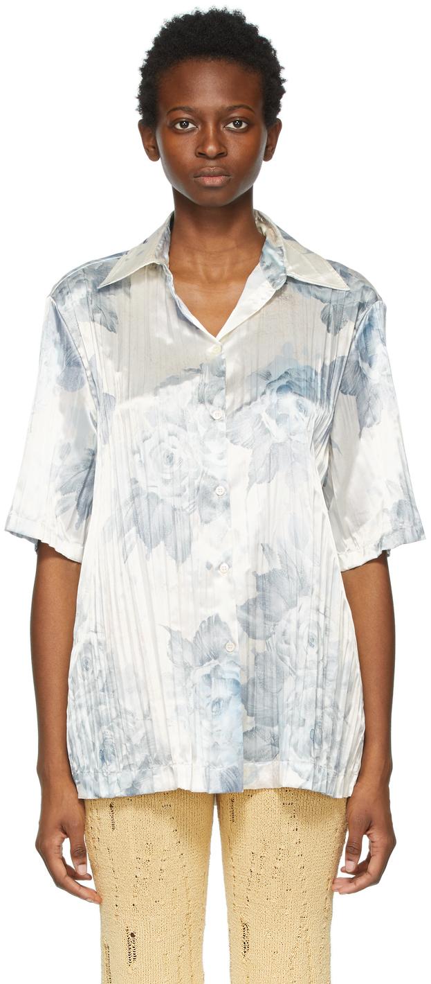 Acne Studios Blue Pleated Floral Shirt 211129F109036