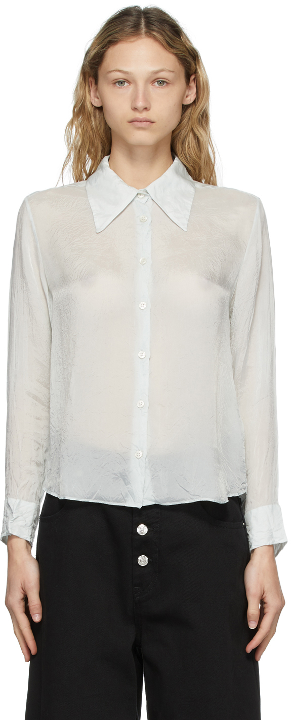 Acne Studios Blue Cupro Crinkled Shirt 211129F109043