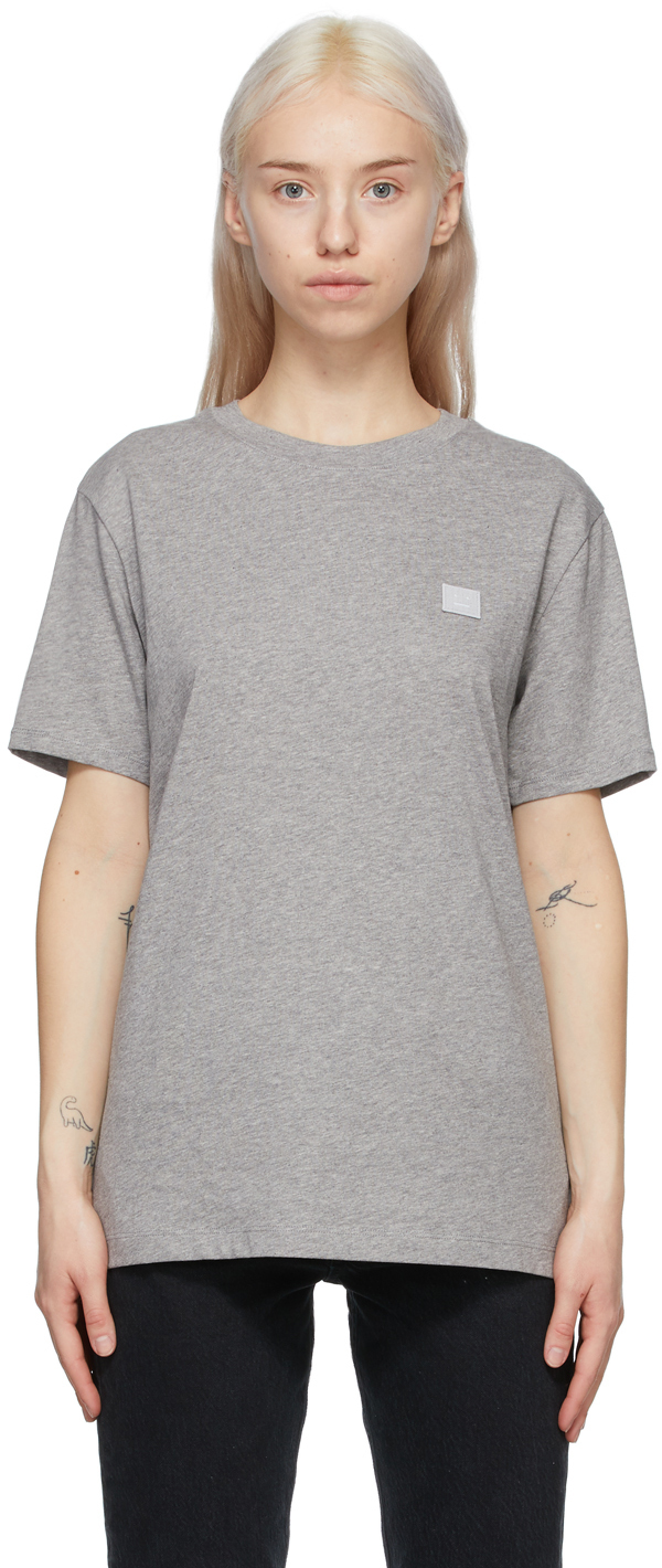 Acne Studios Grey Crewneck Patch T Shirt 211129F110027