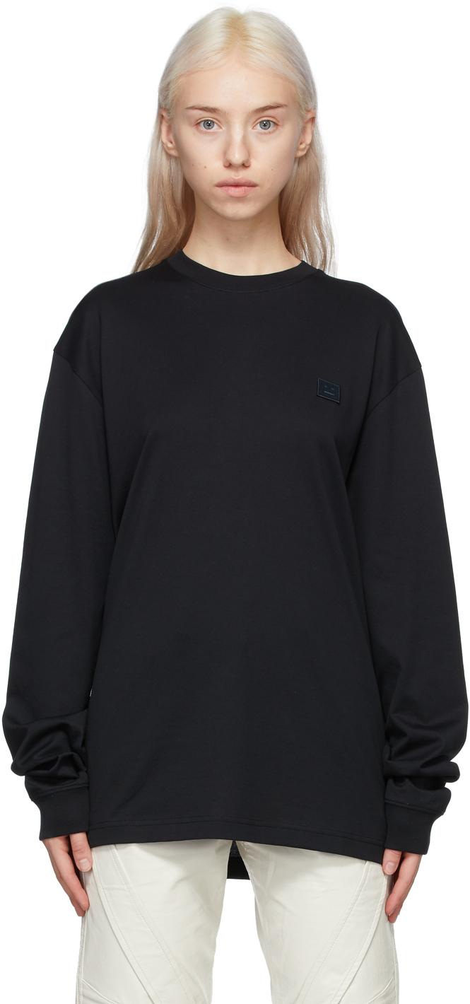 Acne Studios Black Patch Long Sleeve T Shirt 211129F110030