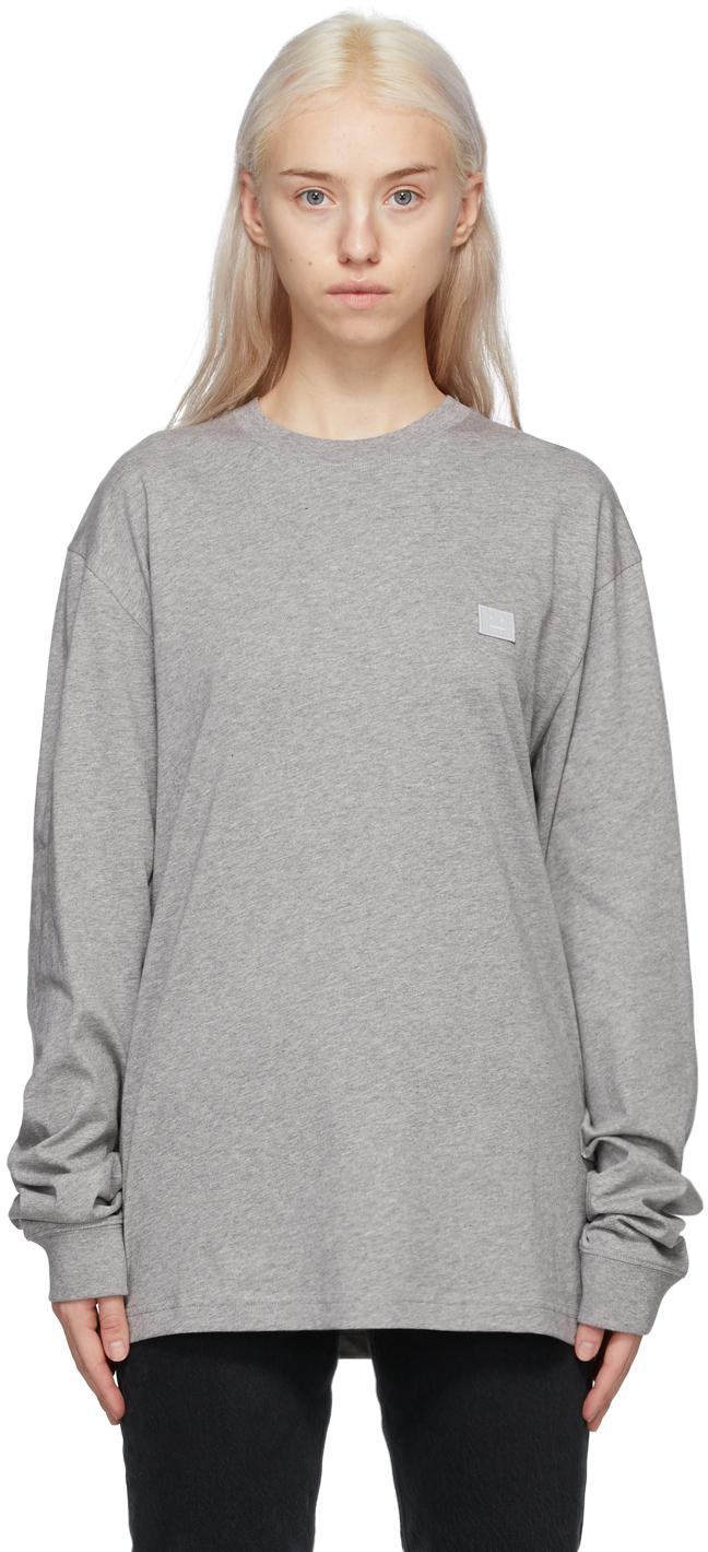 Acne Studios Grey Patch Long Sleeve T Shirt 211129F110031
