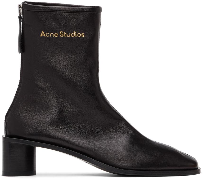Acne Studios Black Branded Heeled Boots 211129F113080