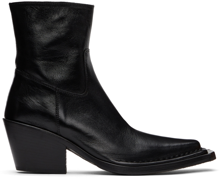 Acne Studios Black Leather Ankle Boots 211129F113086