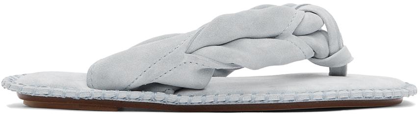Acne Studios Blue Suede Blank Stitch Sandals 211129F124000