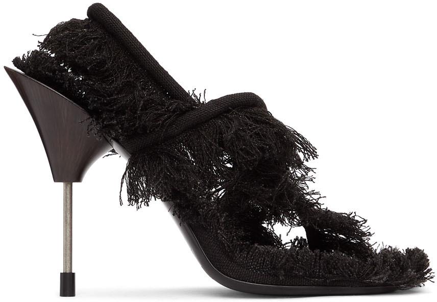 Acne Studios Black Linen Fringed Sandals 211129F125001