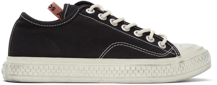 Acne Studios Black Canvas Low Top Sneakers 211129F128007