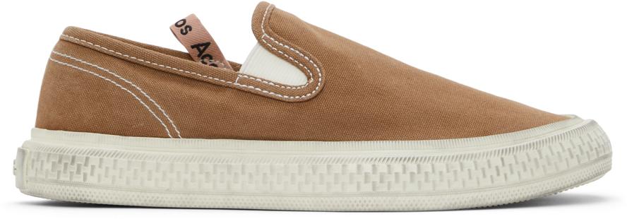 Acne Studios Brown Canvas Slip On Sneakers 211129F128010