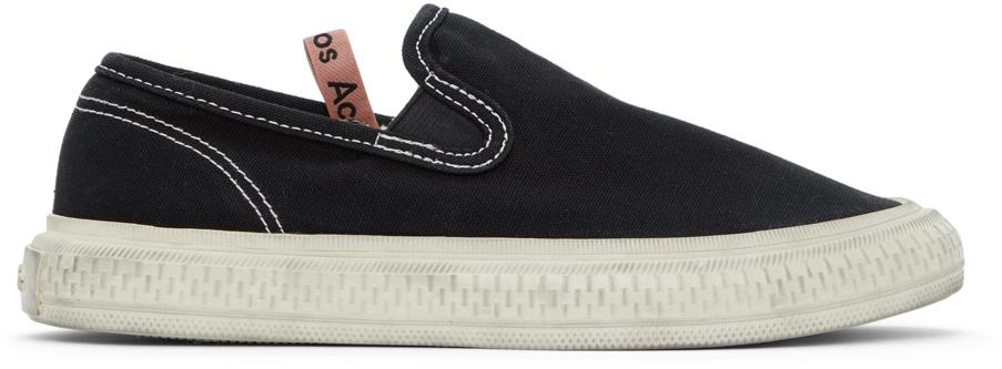Acne Studios Black Canvas Slip On Sneakers 211129F128012