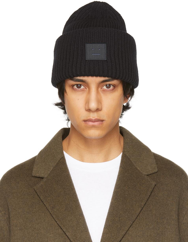 Acne Studios Black Wool Patch Beanie 211129M138011