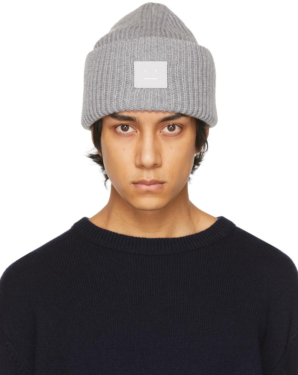 Acne Studios Grey Wool Patch Beanie 211129M138013