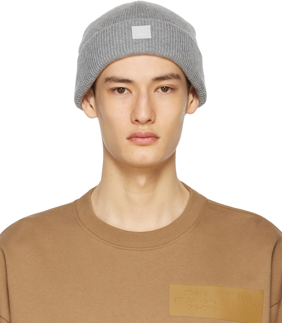 Acne Studios Grey Wool Patch Beanie 211129M138017