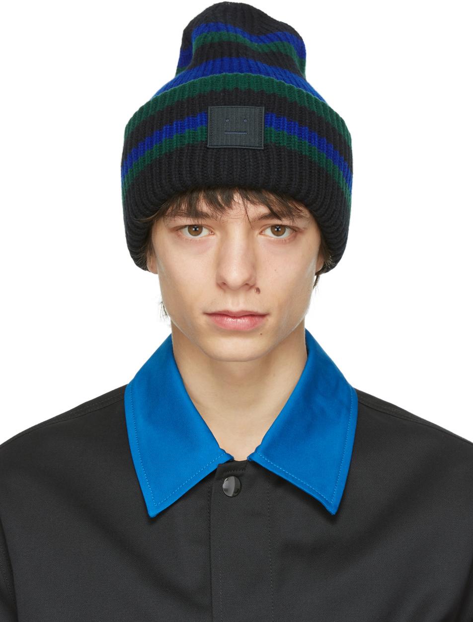 Acne Studios Black Wool Striped Patch Beanie 211129M138019