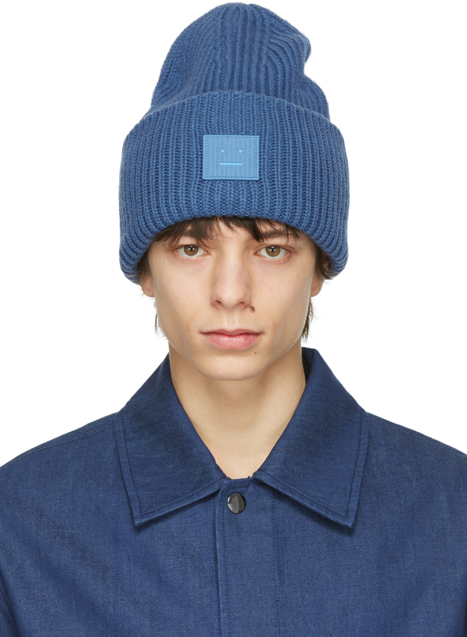 Acne Studios Blue Wool Patch Beanie 211129M138020