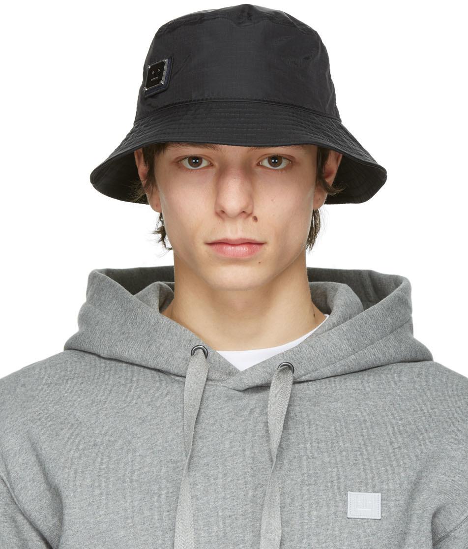 Acne Studios Black Nylon Buko Bucket Hat 211129M140029