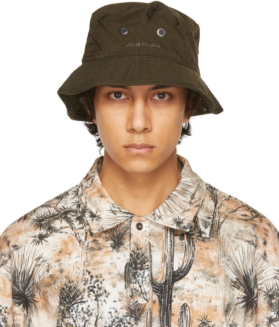 Acne Studios Khaki Nylon Logo Bucket Hat 211129M140032