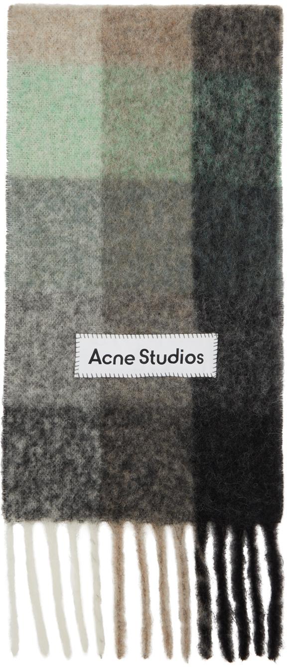 Acne Studios Green Grey Alpaca Mohair Large Check Scarf 211129M150047