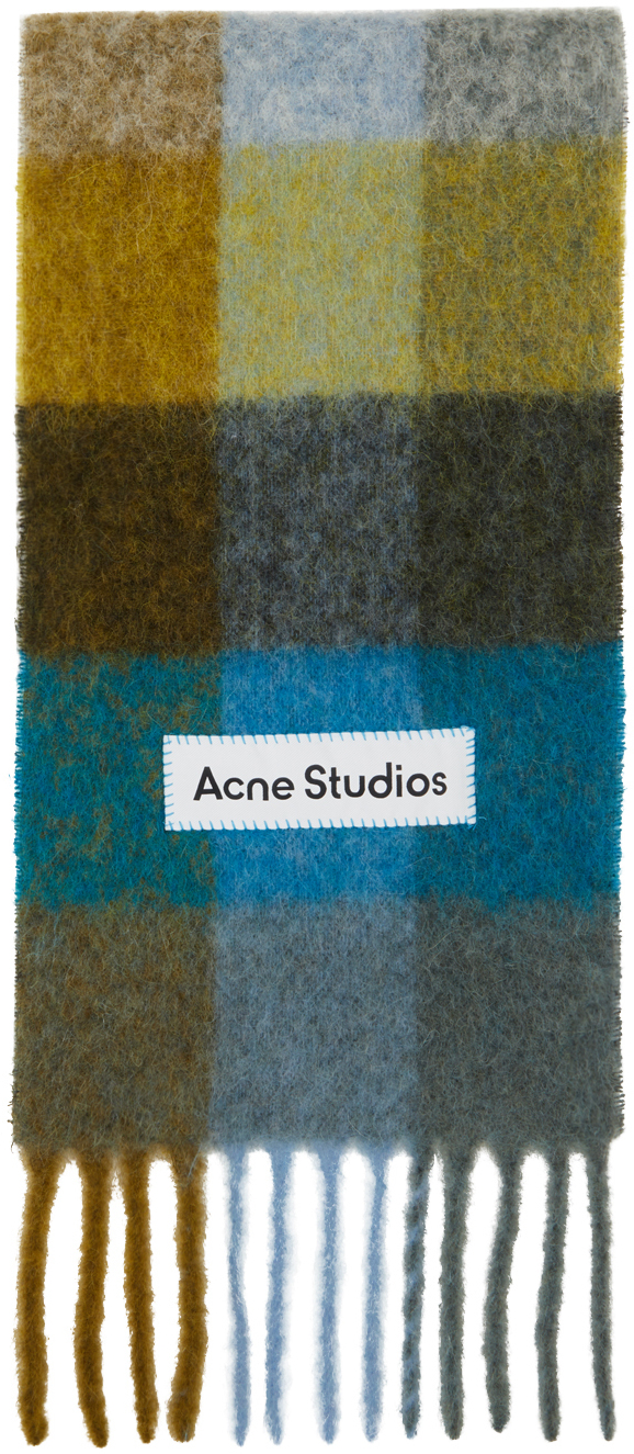 Acne Studios Green Blue Alpaca Mohair Large Check Scarf 211129M150048