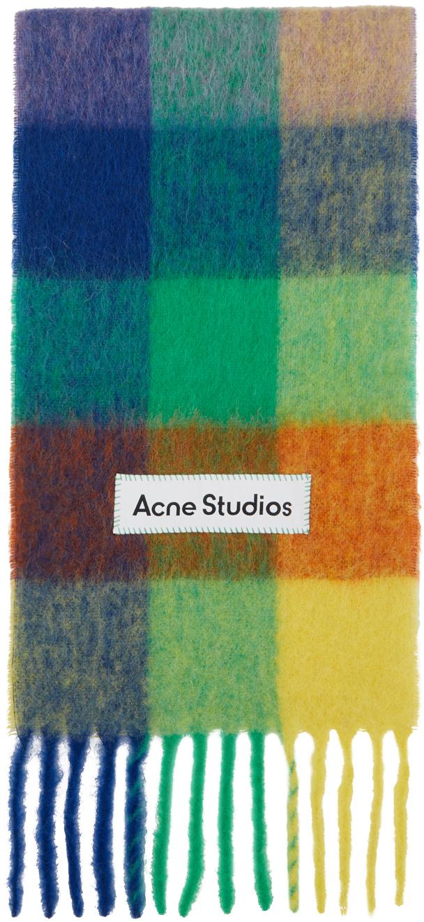 Acne Studios Multicolor Alpaca Mohair Large Check Scarf 211129M150049