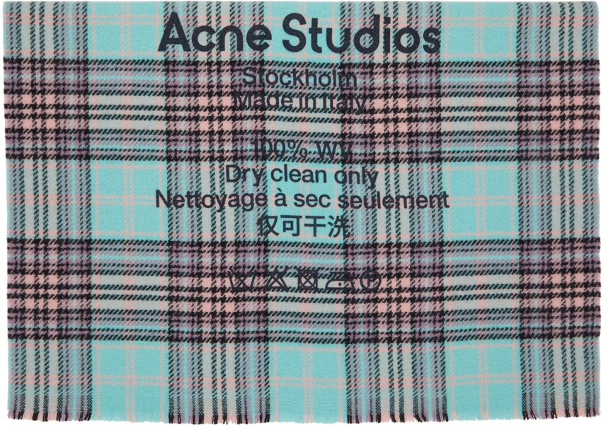 Acne Studios Blue Purple Wool Tartan Check Scarf 211129M150057