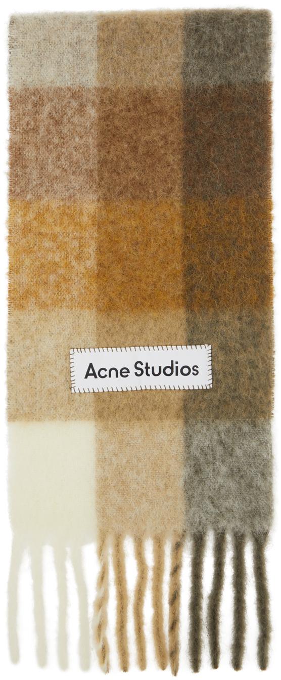 Acne Studios Beige Brown Alpaca Mohair Large Check Scarf 211129M150058