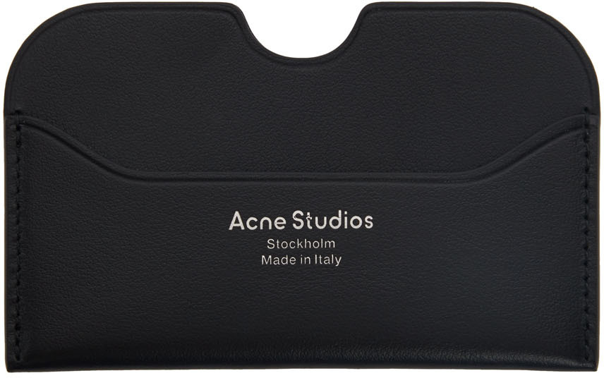 Acne Studios Black Logo Card Holder 211129M163038