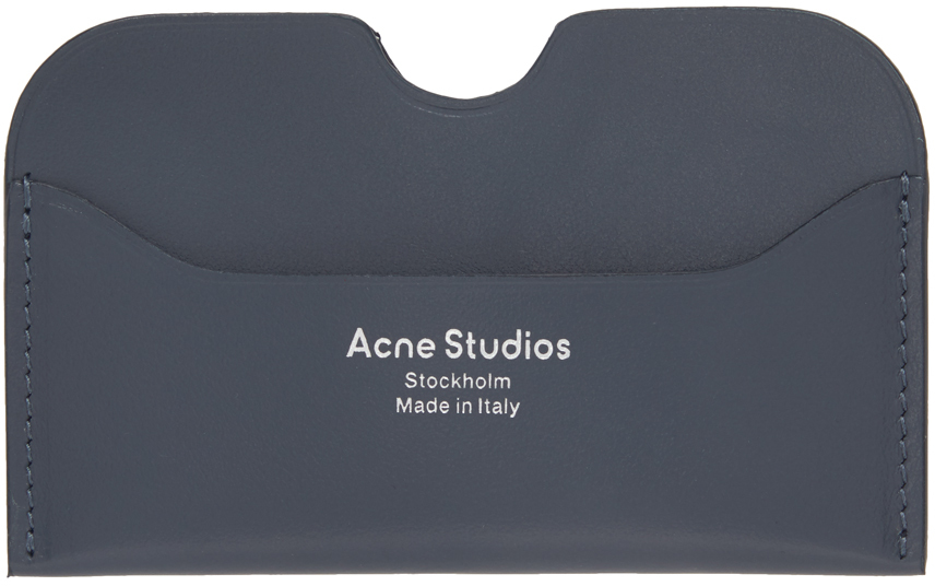 Acne Studios Grey Logo Card Holder 211129M163039