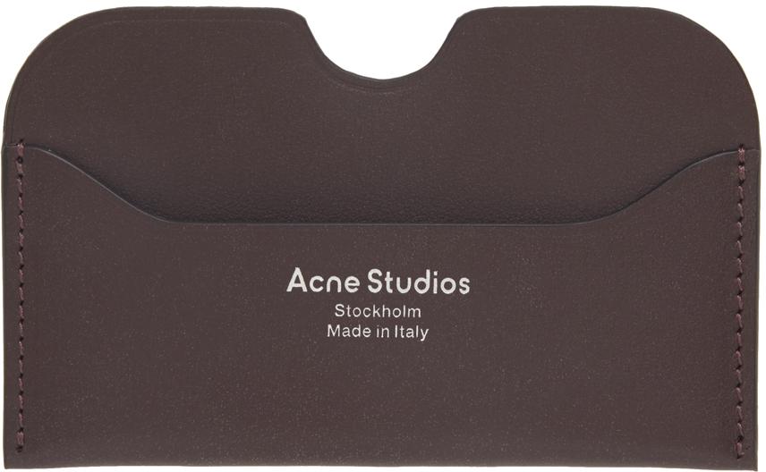 Acne Studios Brown Logo Card Holder 211129M163040