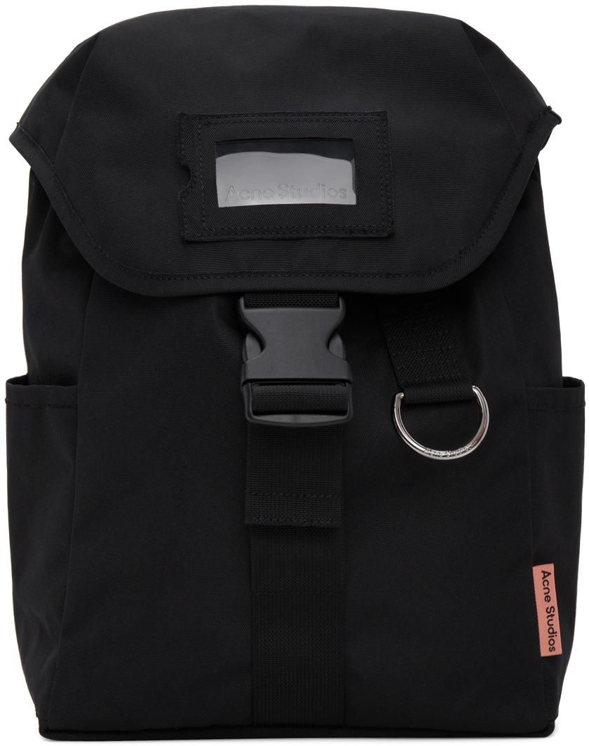 Acne Studios Black Canvas Large Backpack 211129M166009