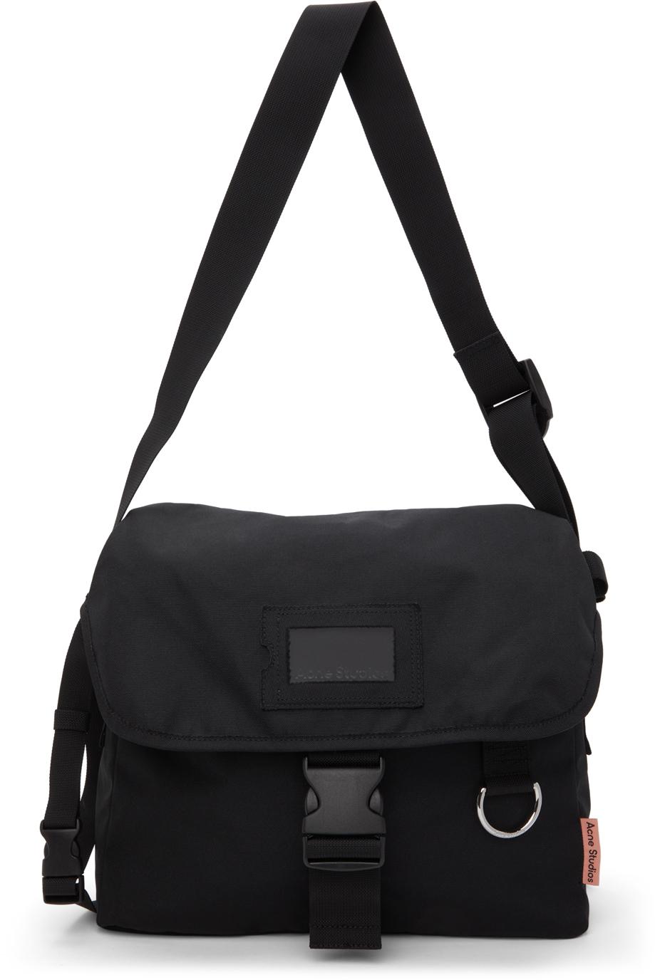 Acne Studios Black Large Canvas Messenger Bag 211129M170007