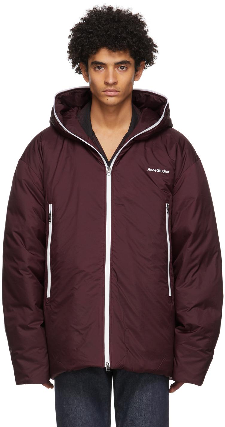 Acne Studios Burgundy Down Hooded Jacket 211129M178102