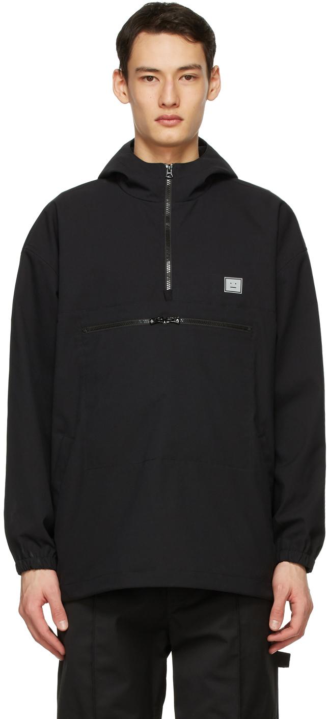 Acne Studios Black Hooded Anorak Jacket 211129M180046