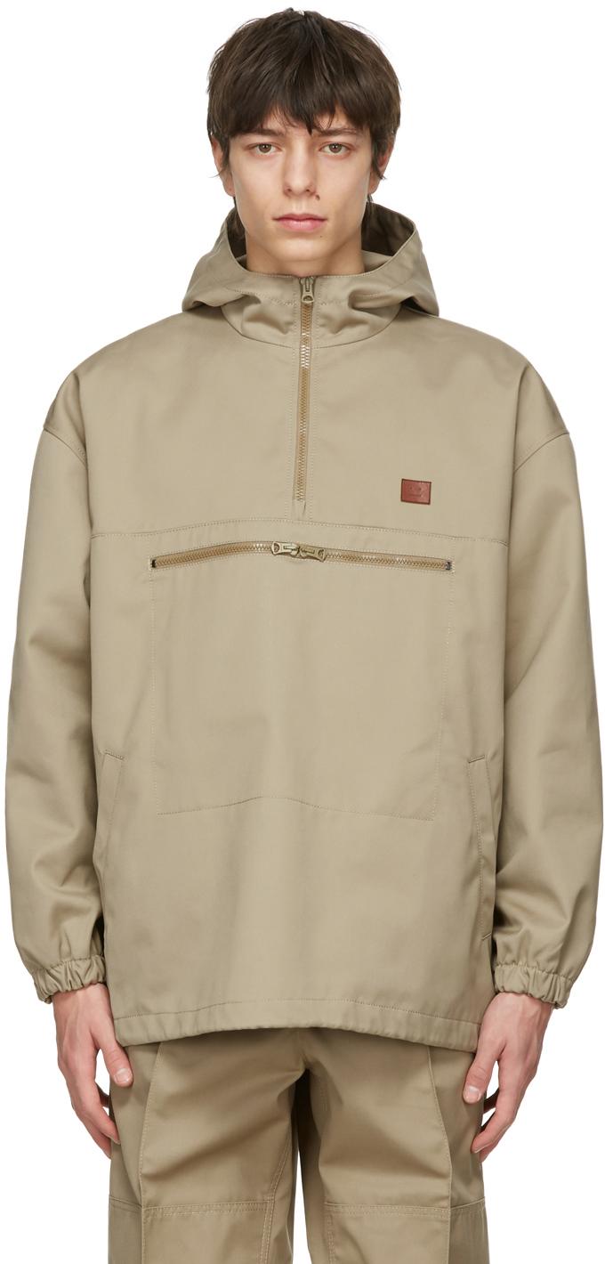 Acne Studios Beige Twill Hooded Anorak Jacket 211129M180047