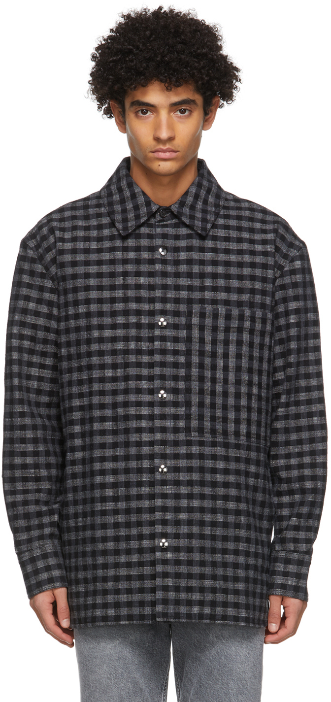 Acne Studios Black Grey Check Pocket Over Shirt 211129M180053