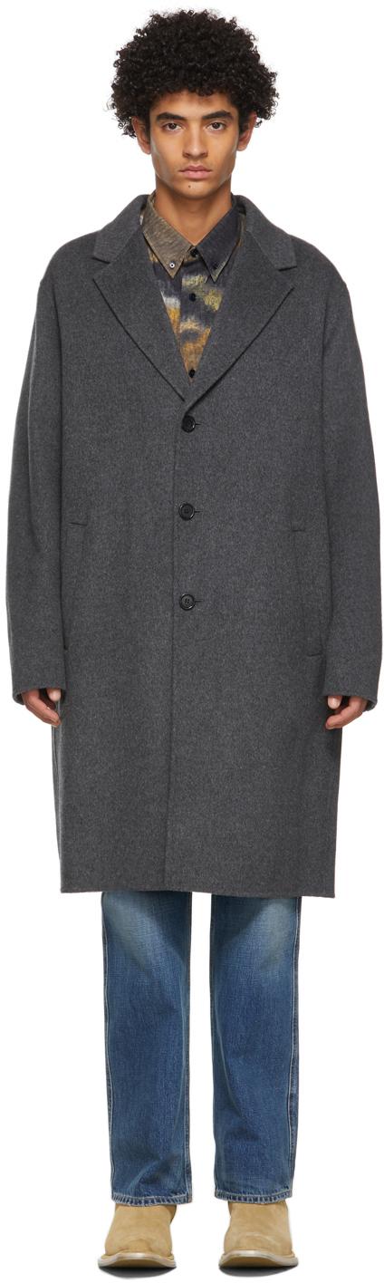 Acne Studios Grey Wool Double Face Coat 211129M183099
